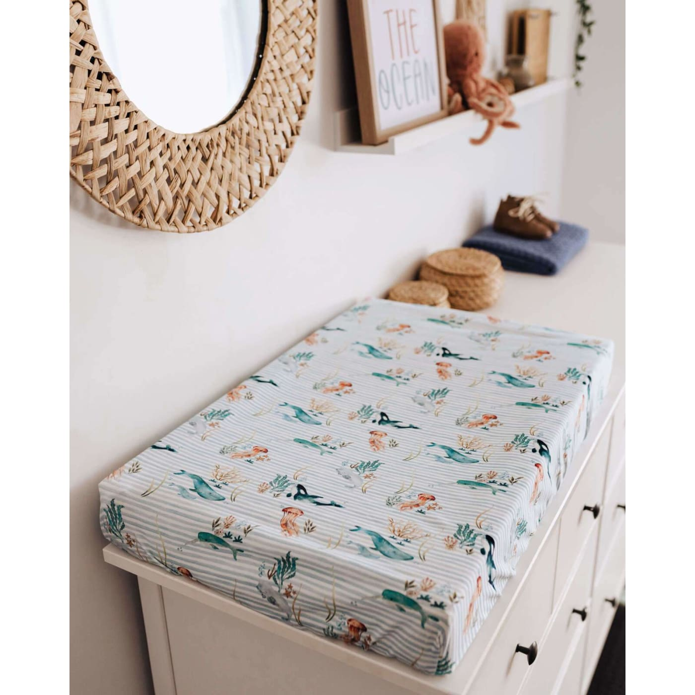 Snuggle Hunny Kids Bassinet Sheet/Cradle Sheet/Change Pad Cover - Whale - Whale - NURSERY & BEDTIME - BASS/CRADLE/COSLEEP MANCHESTER