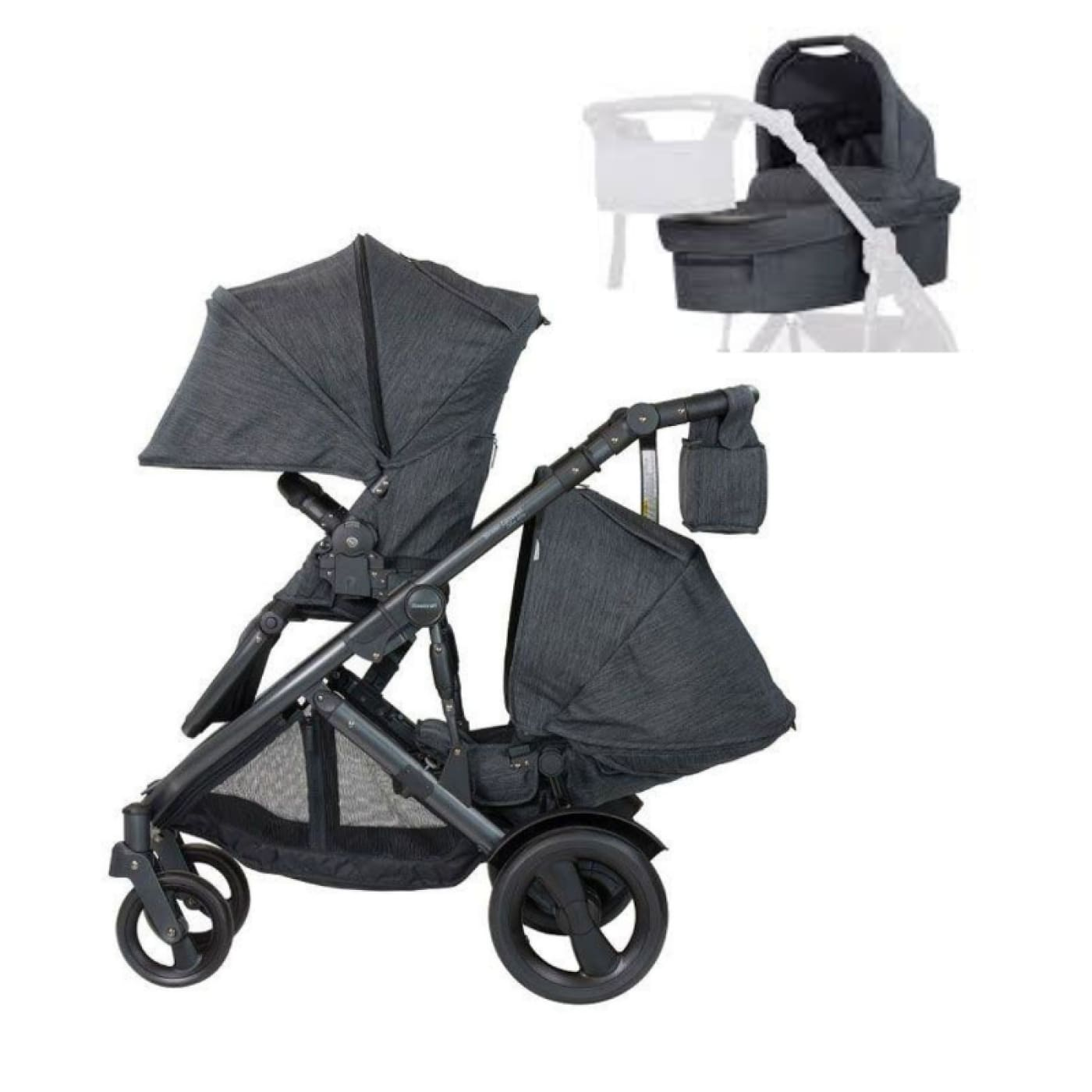 Steelcraft Strider Compact Deluxe Textured Collection Pram Second Seat & Bassinet Display Package Granite - PRAMS & STROLLERS - PACKAGES