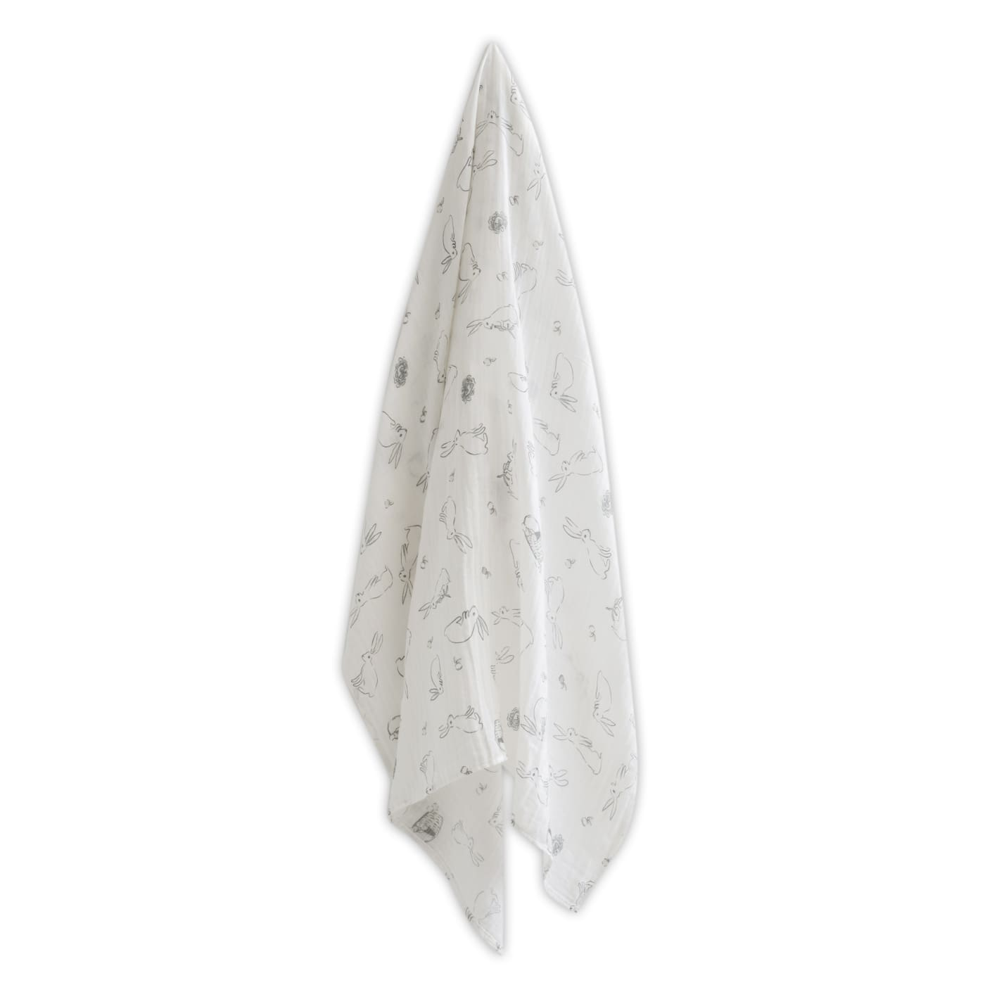 The Little Linen Company Muslin Wrap and Crinkle Toy - Ivory Bunny - NURSERY & BEDTIME - SWADDLES/WRAPS