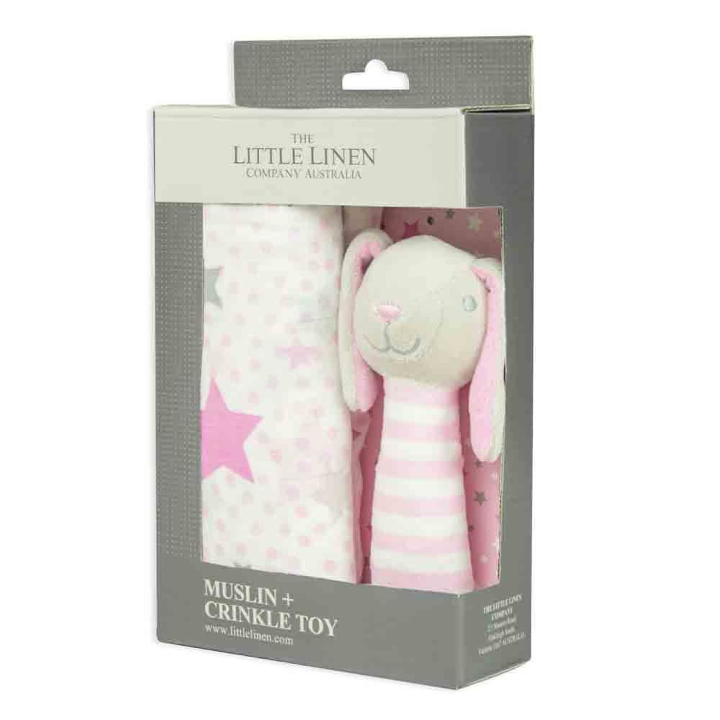 The Little Linen Company Muslin Wrap and Crinkle Toy - Pink Bunny - NURSERY & BEDTIME - SWADDLES/WRAPS