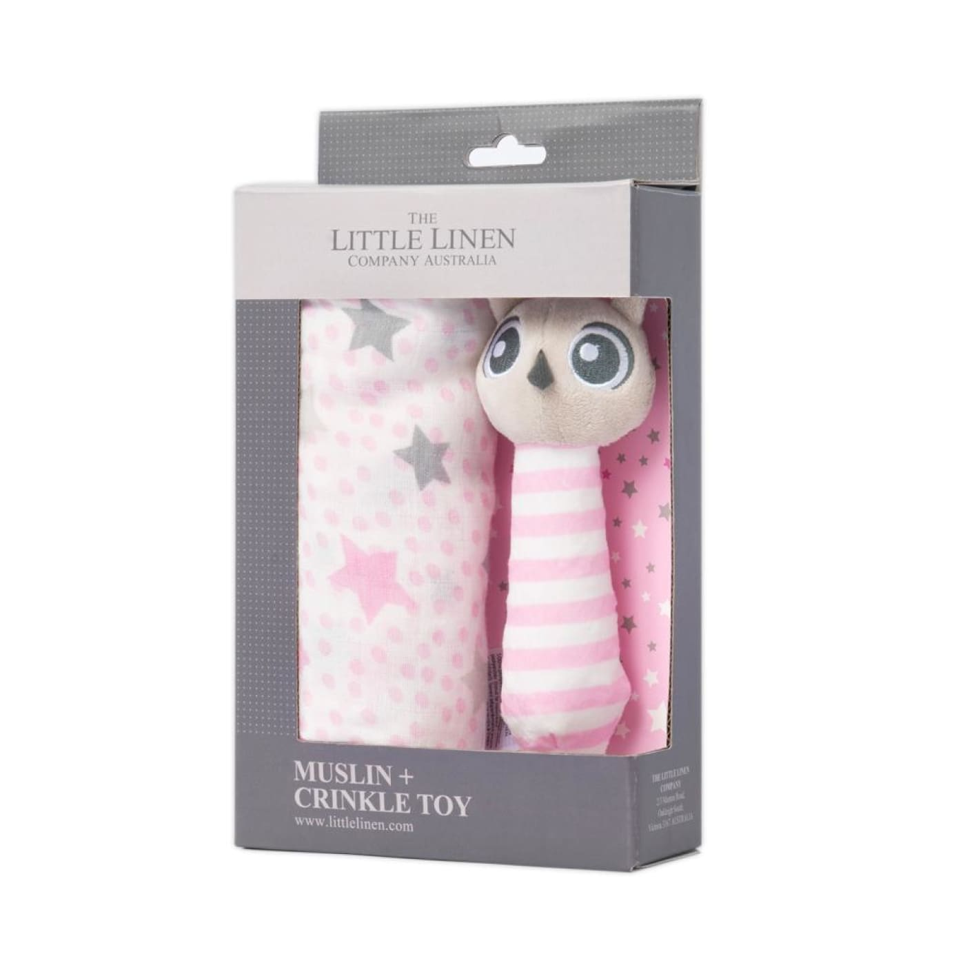 The Little Linen Company Muslin Wrap and Crinkle Toy - Pink Owl - Owl - NURSERY & BEDTIME - SWADDLES/WRAPS