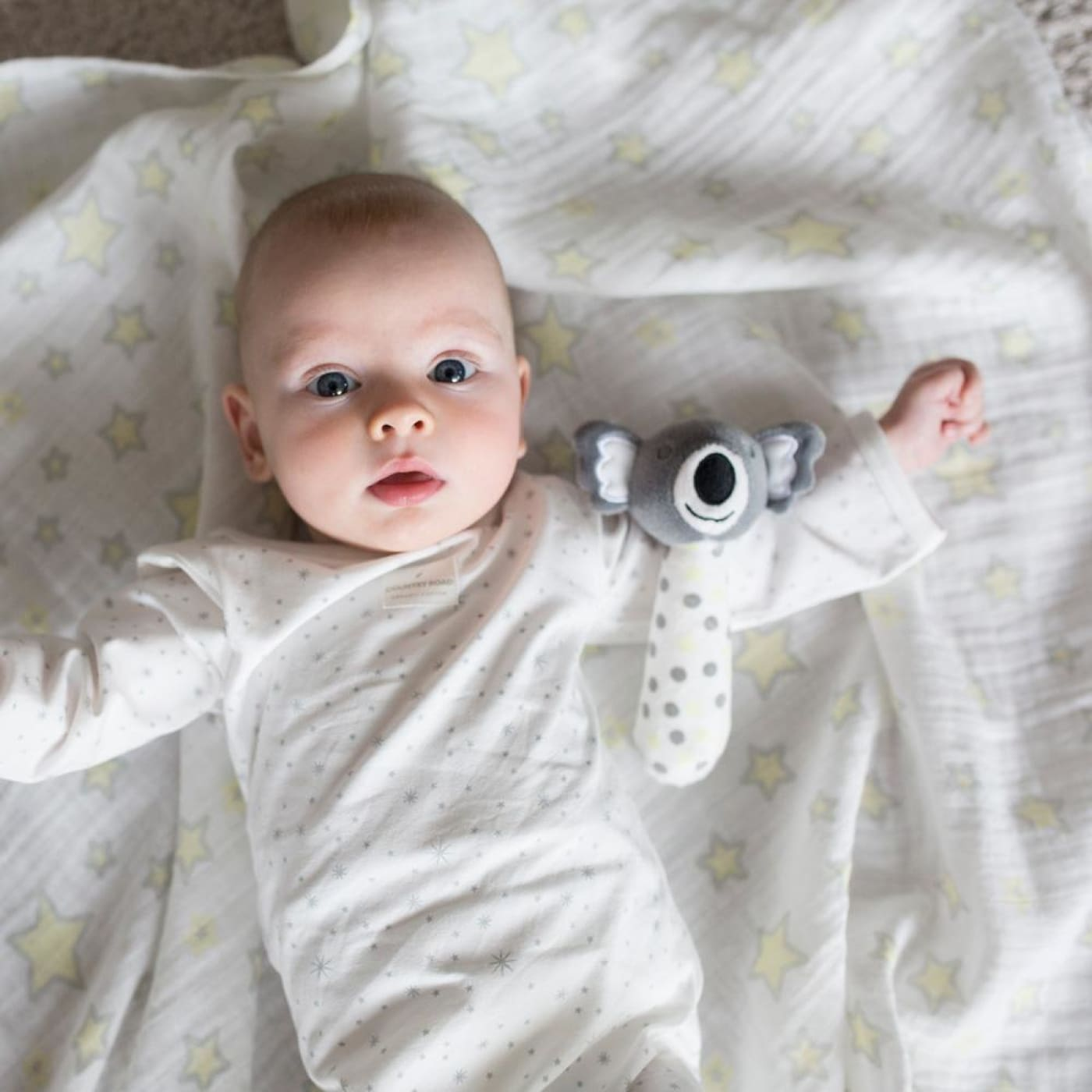 The Little Linen Company Muslin Wrap & Crinkle Toy - Silver Koala - NURSERY & BEDTIME - SWADDLES/WRAPS