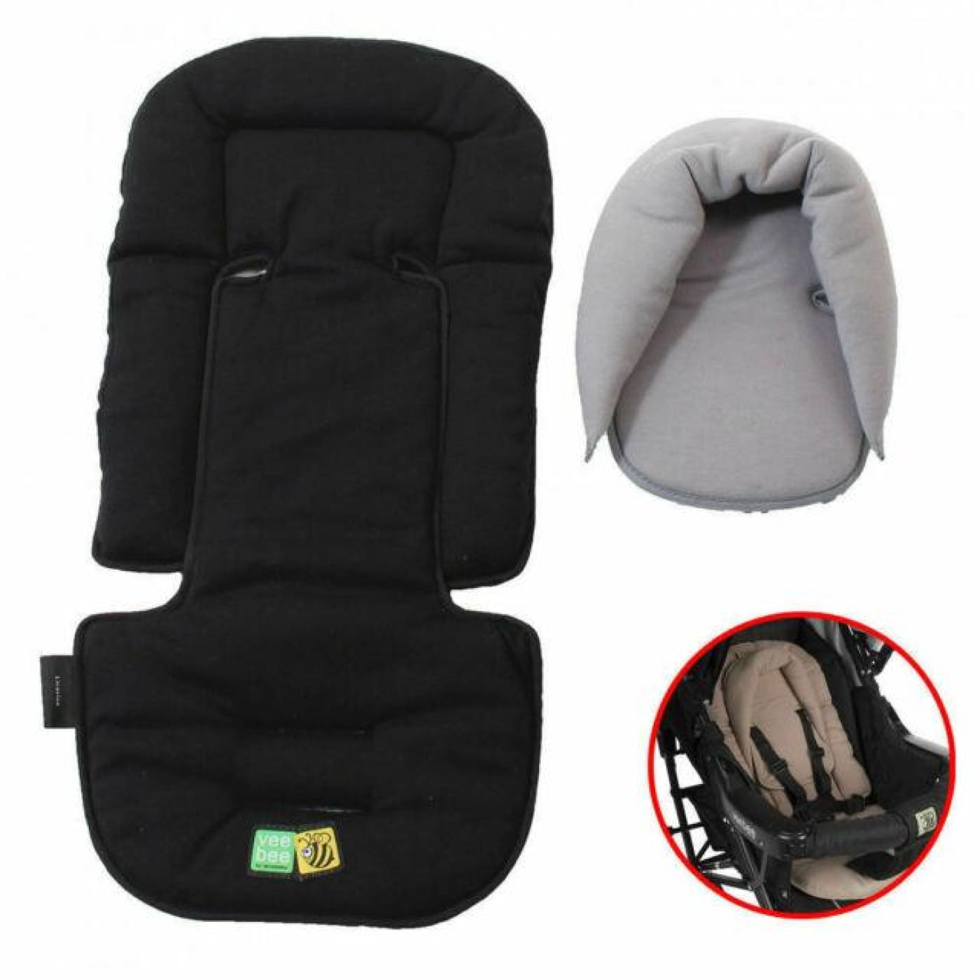 Veebee Allsorts Seat Pad & Head Hugger - Licorice - Licorice - PRAMS & STROLLERS - HEAD SUPPORTS
