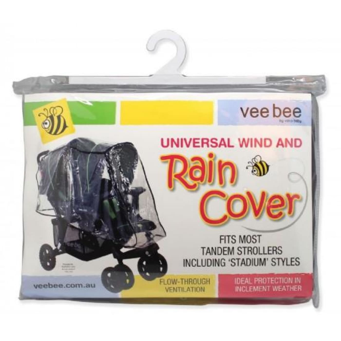 Veebee Raincover Tandem with Dual Hoods - PRAMS & STROLLERS - SUN COVERS/WEATHER SHIELDS