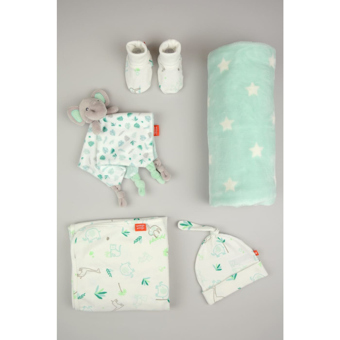 Weegoamigo Jersey and Fleece Gift Set - Echo the Elephant - Elephant - NURSERY & BEDTIME - SWADDLES/WRAPS
