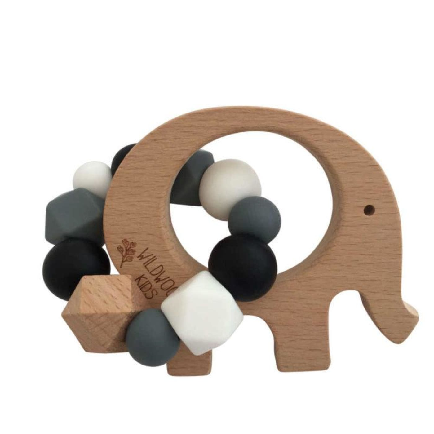 Wildwood Kids Teether - Elephant Charcoal Mix - NURSING & FEEDING - TEETHERS/TEETHING JEWELLERY
