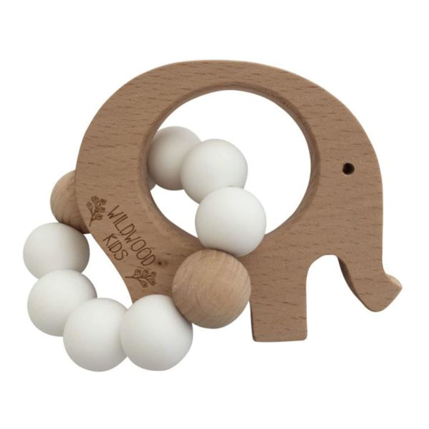 Wildwood Kids Teether - Elephant Scandi White - NURSING & FEEDING - TEETHERS/TEETHING JEWELLERY