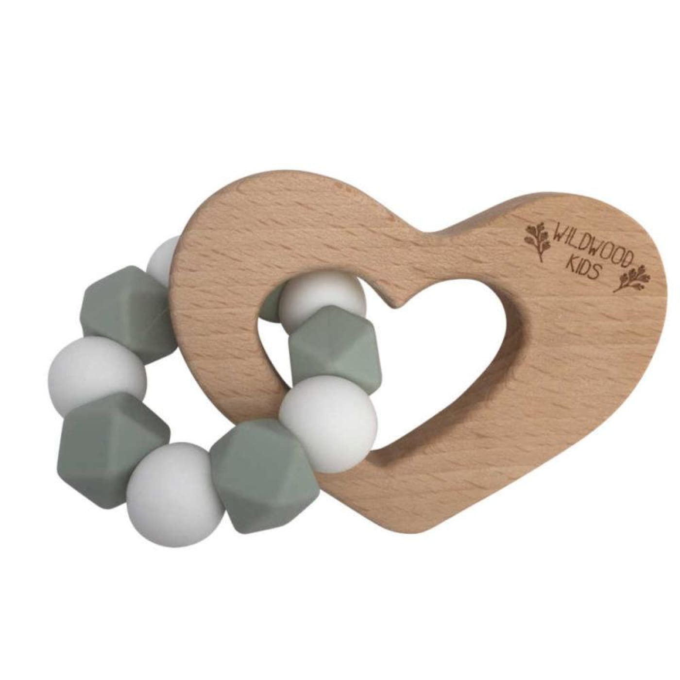 Wildwood Kids Teether - Heart Mint/White - NURSING & FEEDING - TEETHERS/TEETHING JEWELLERY