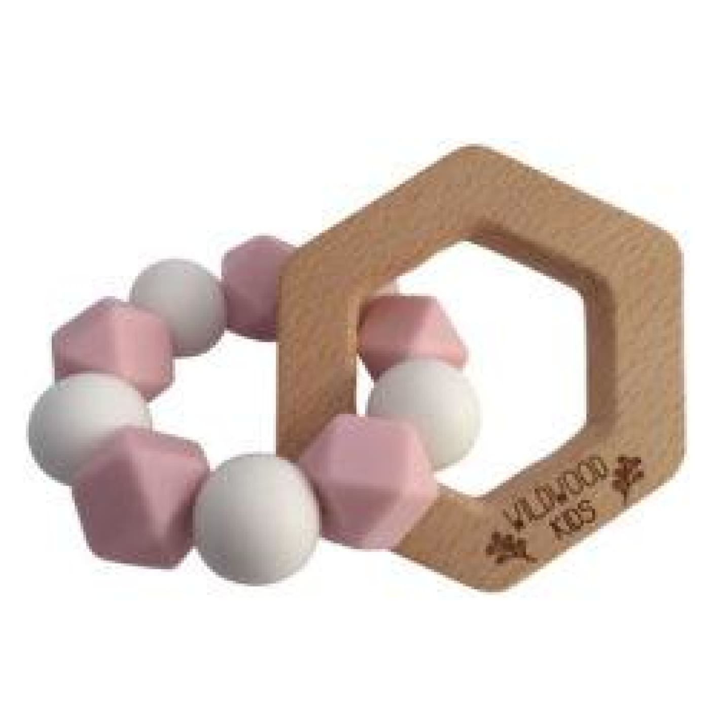 Wildwood Kids Teether - Heart Pink/White - NURSING & FEEDING - TEETHERS/TEETHING JEWELLERY