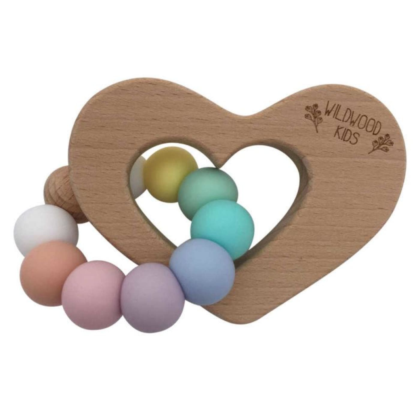 Wildwood Kids Teether - Heart Rainbow - NURSING & FEEDING - TEETHERS/TEETHING JEWELLERY