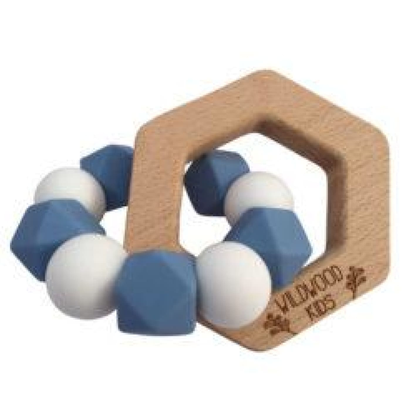Wildwood Kids Teether - Hexagon Blue/White - NURSING & FEEDING - TEETHERS/TEETHING JEWELLERY