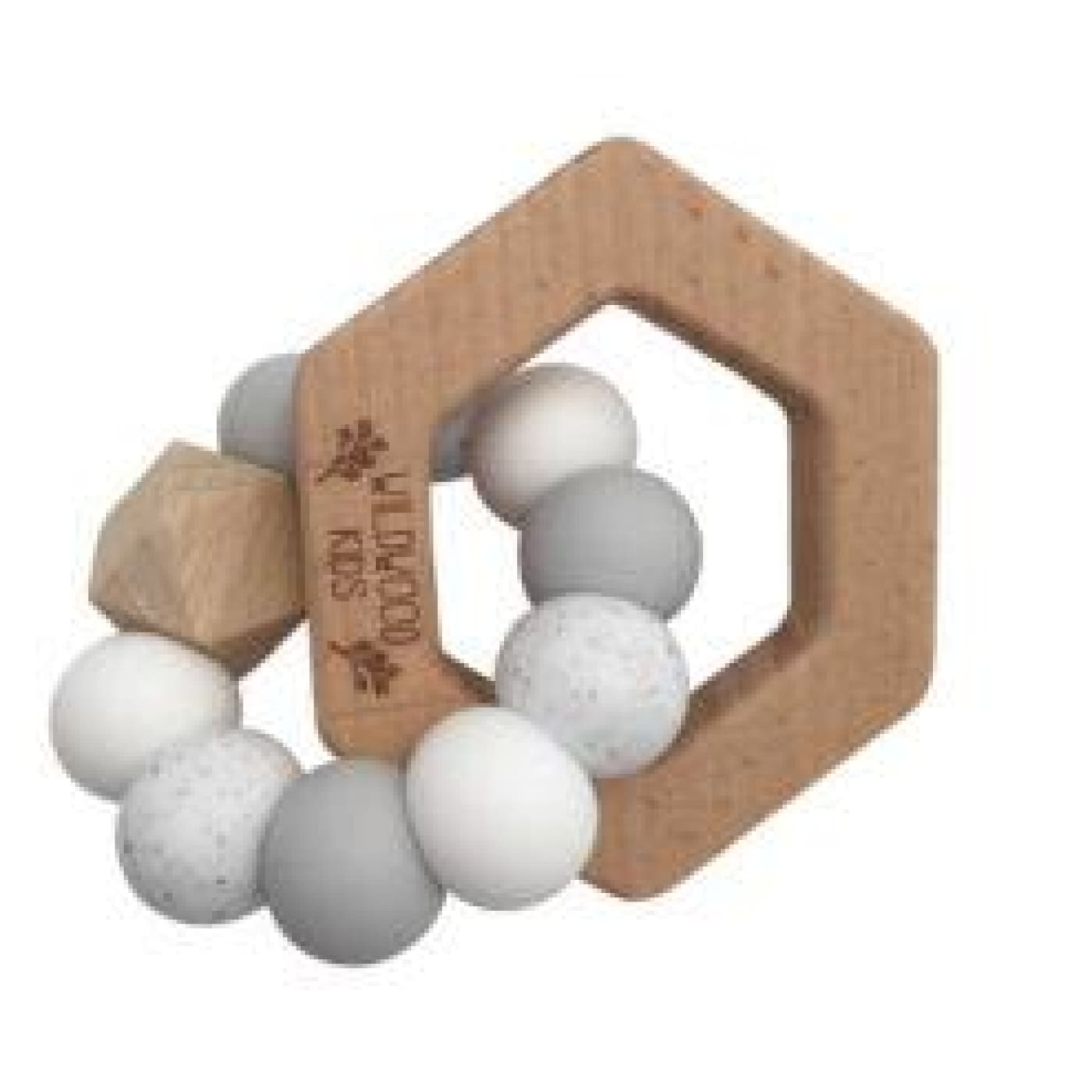 Wildwood Kids Teether - Hexagon Grey Mix - NURSING & FEEDING - TEETHERS/TEETHING JEWELLERY