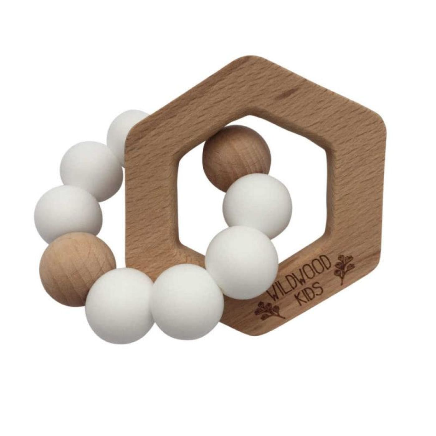 Wildwood Kids Teether - Hexagon Scandi White - NURSING & FEEDING - TEETHERS/TEETHING JEWELLERY