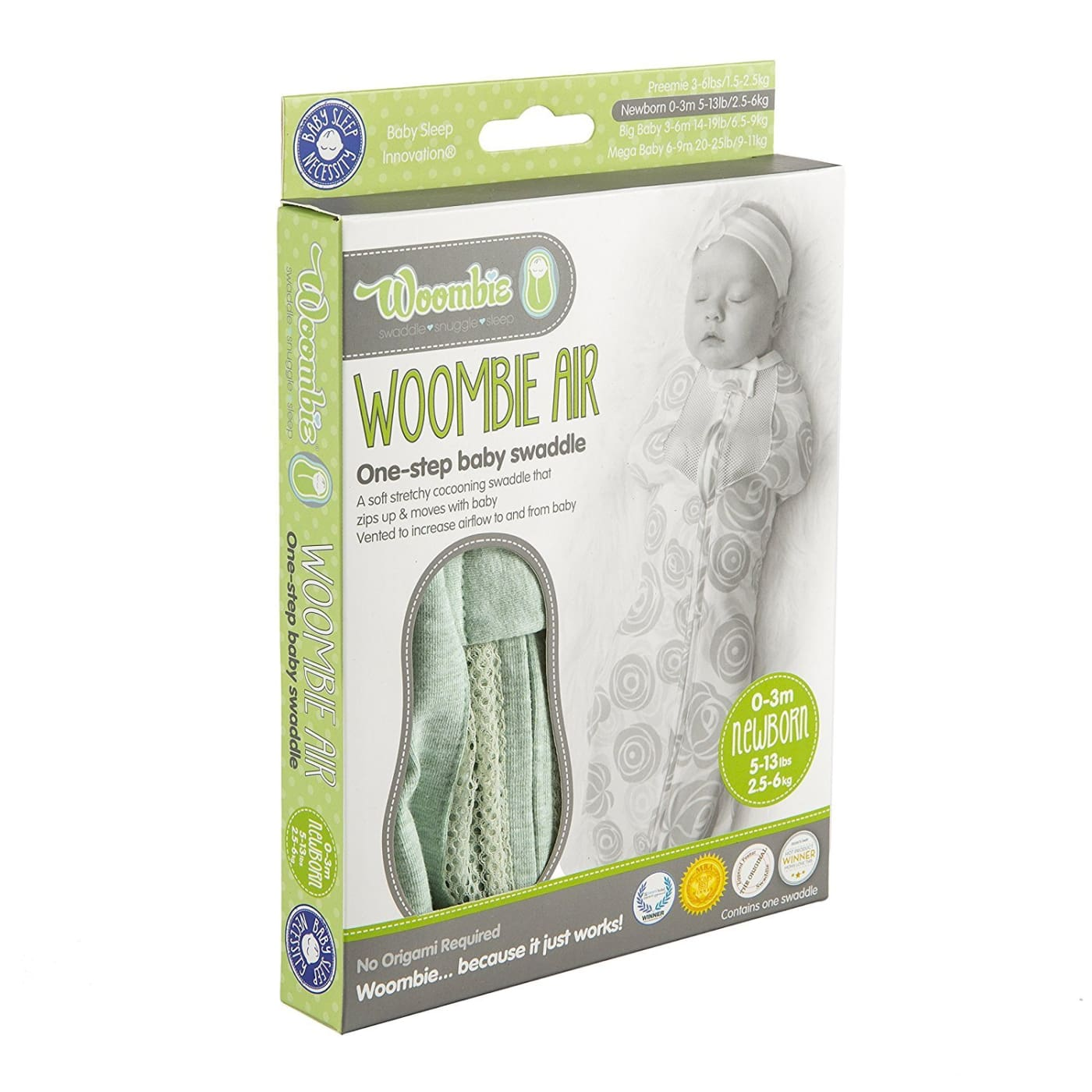 Woombie Air - Lime Sorbet Newborn 0-3M/2.5-6KG - NURSERY & BEDTIME - SWADDLES/WRAPS