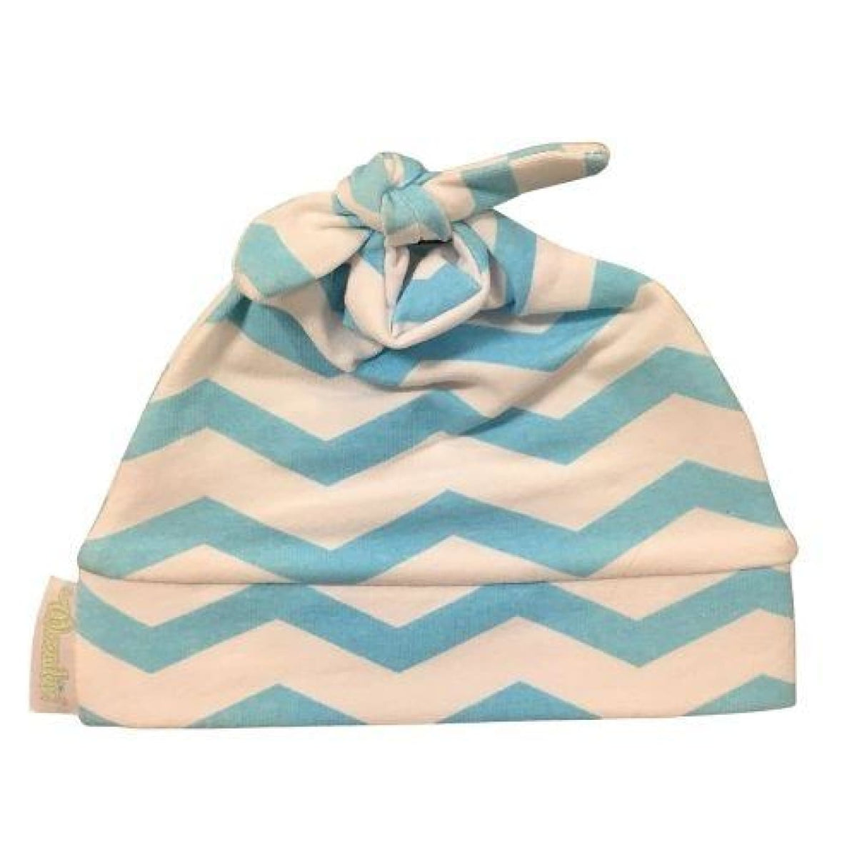 Woombie Cotton Beanie Aqua Chevron 0-6M - Aqua Chevron - BABY & TODDLER CLOTHING - BEANIES/HATS