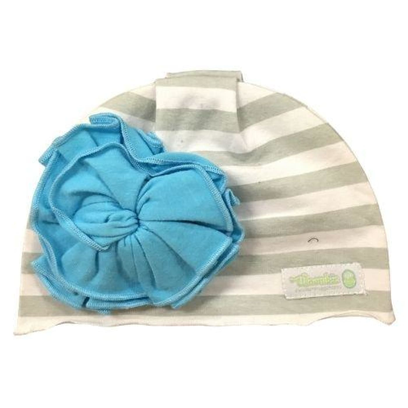 Woombie Flower Aqua Beanie 0-6M - 0-6m / Grey/White Striped - BABY & TODDLER CLOTHING - BEANIES/HATS