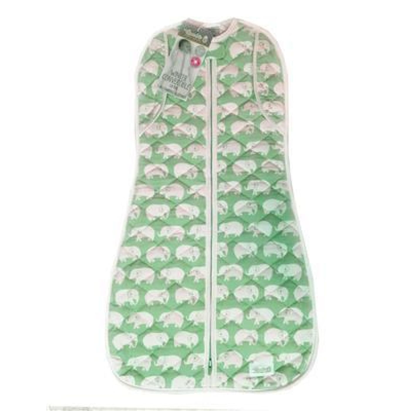 Woombie Winter Convertible - Green Elephant 1.8 TOG Big Baby 3-6M/6.5-9KG - NURSERY & BEDTIME - SWADDLES/WRAPS