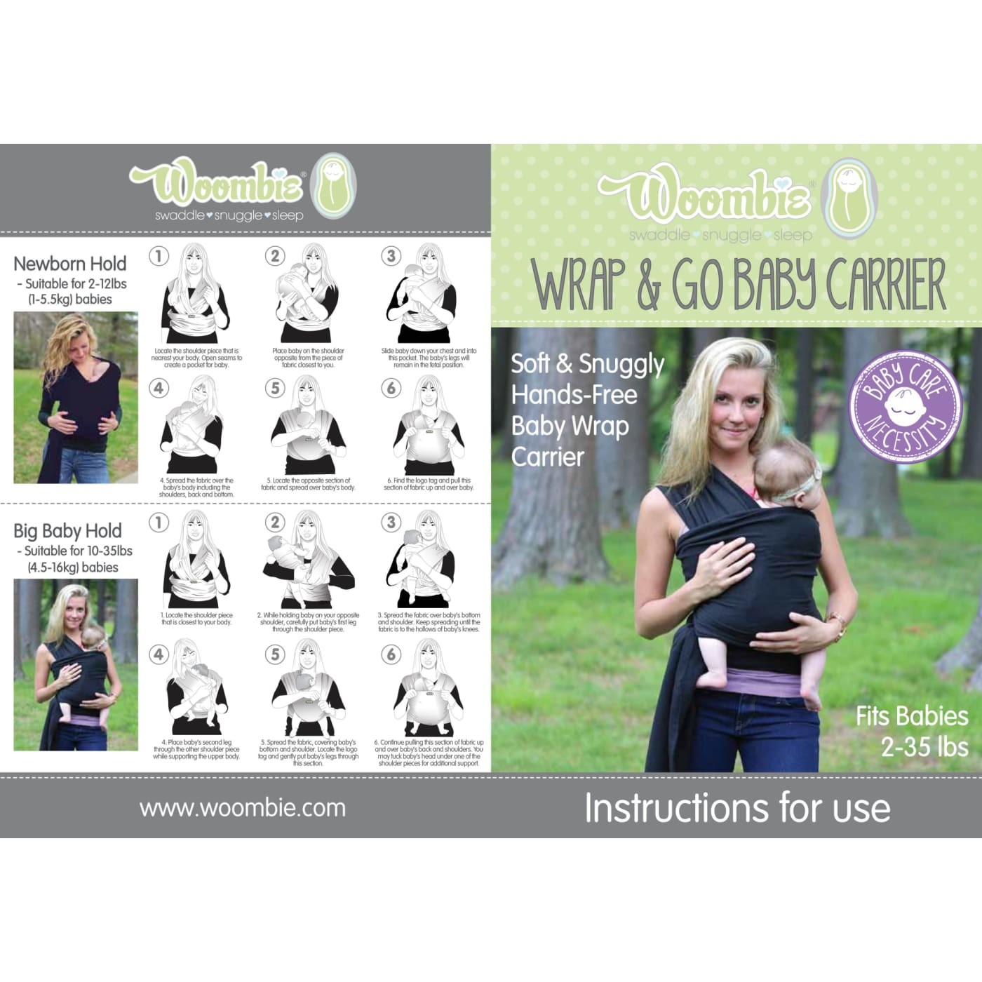 Woombie Wrap & Go - Grey - ON THE GO - BABY CARRIERS/SLINGS