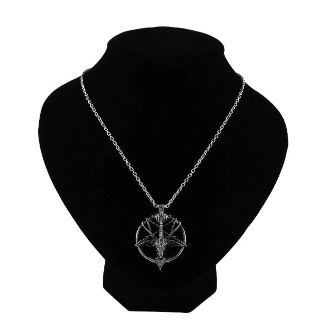 Inverted Pentagram Goat Head Pendant Necklace