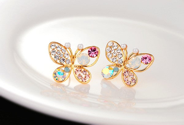 18k Rose Gold Plated Butterfly Earings