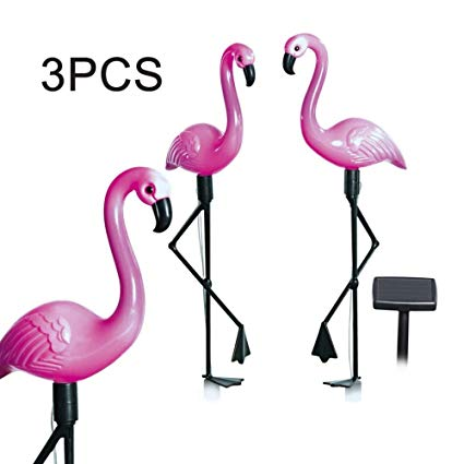 3x Flamingo Solar Lights