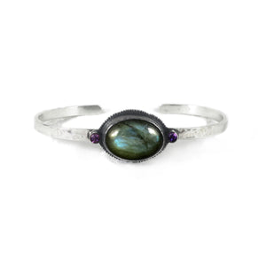 unEarthed cuff with labradorite and amethyst