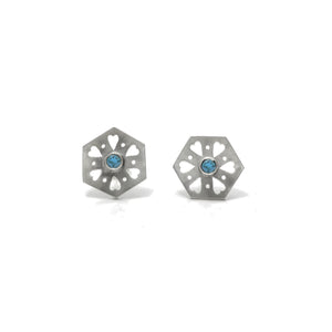 Hexagon Tile Heart Stud Earrings