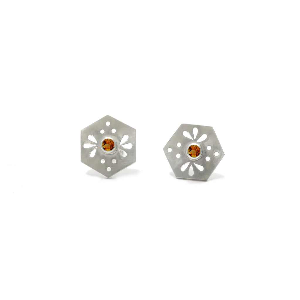 Hexagon Tile Bee Stud Earrings