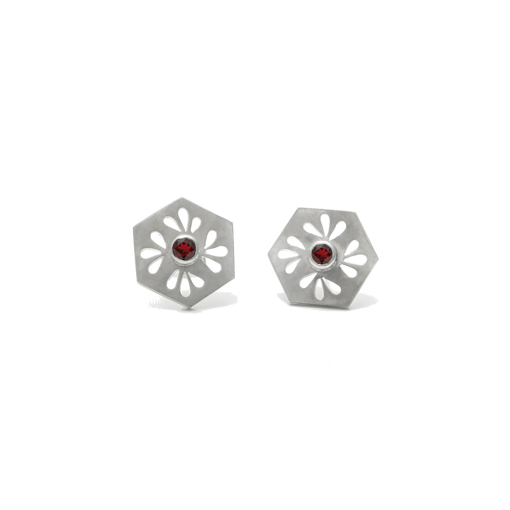 Hexagon Tile Petal Stud Earrings