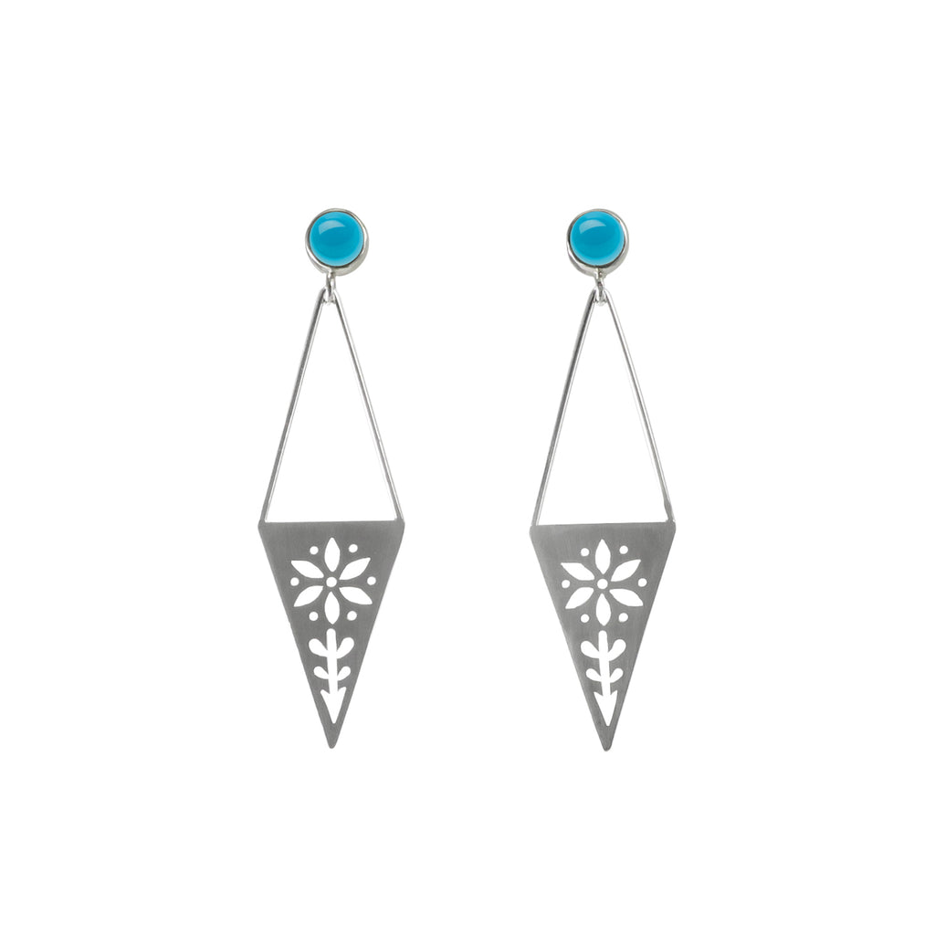 Triangle Sunshine Moonlight Post Earrings with Gem