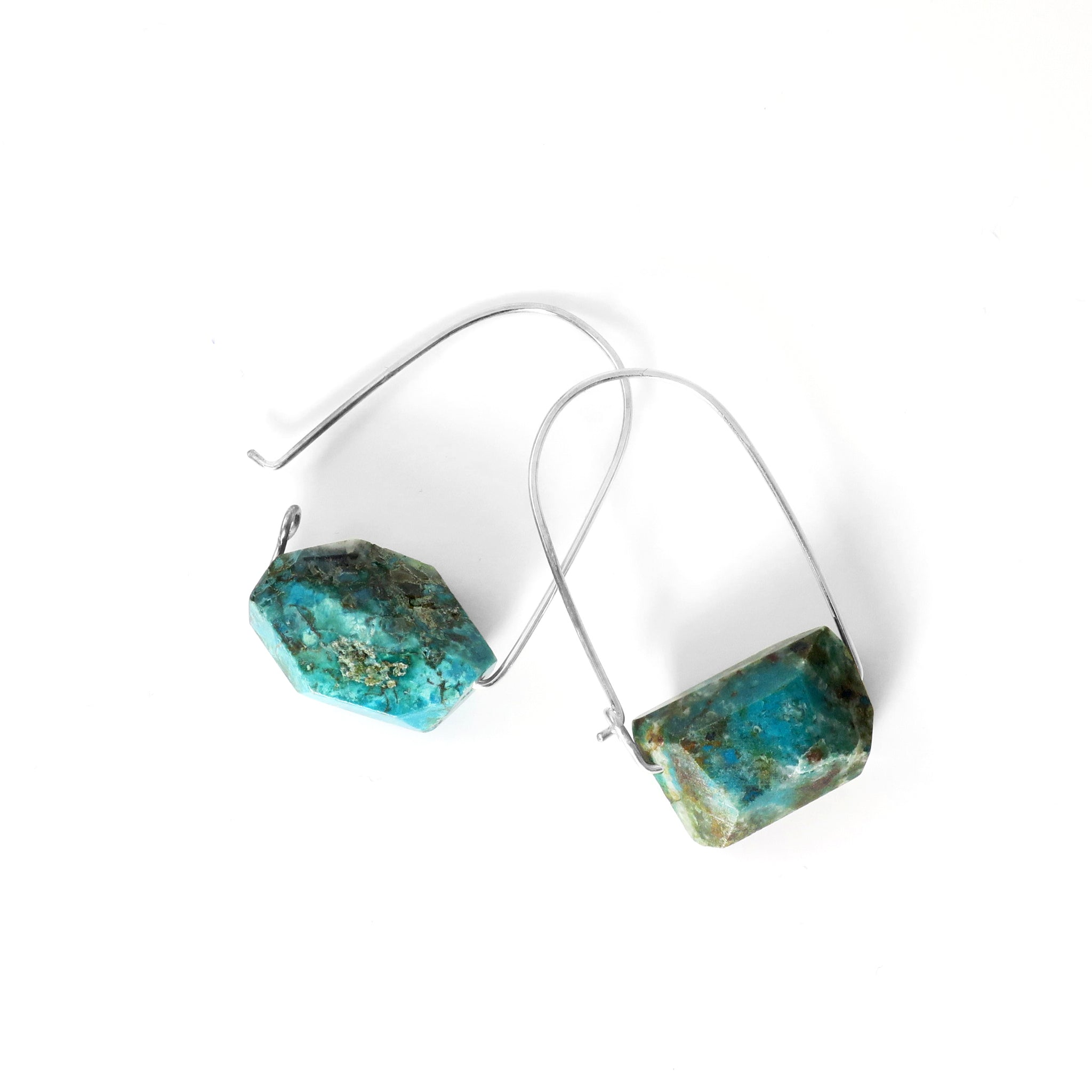 Chrysocolla ~ Carry-On Hoop Earrings