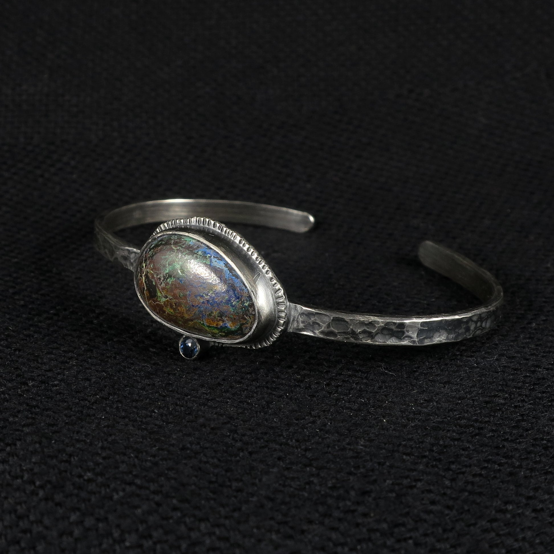 unEarthed cuff with chrysocolla and sapphire