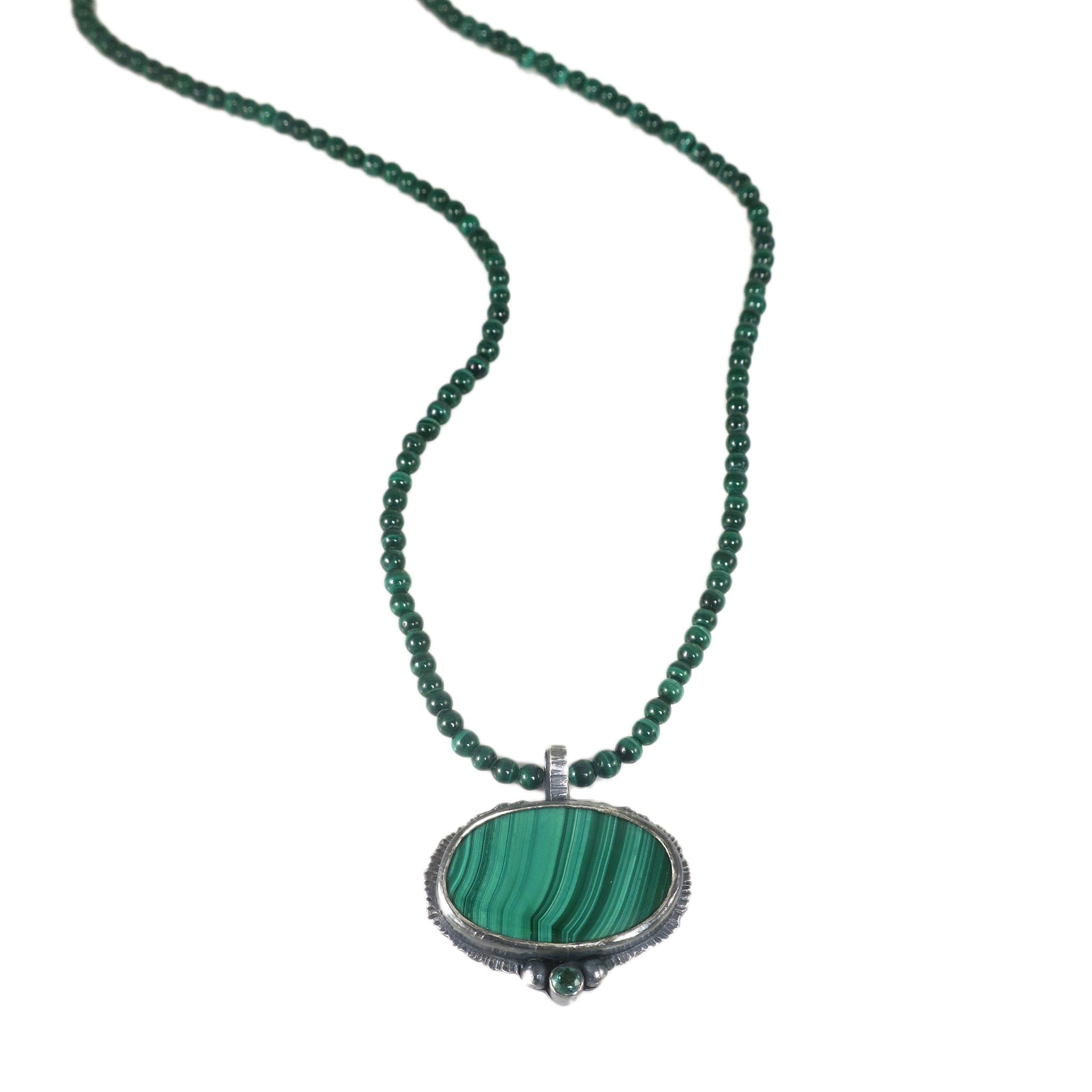 unEarthed necklace with malachite and green tourmaline