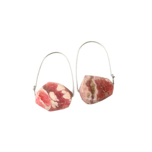 Rhodochrosite ~ Carry-On Hoop Earrings
