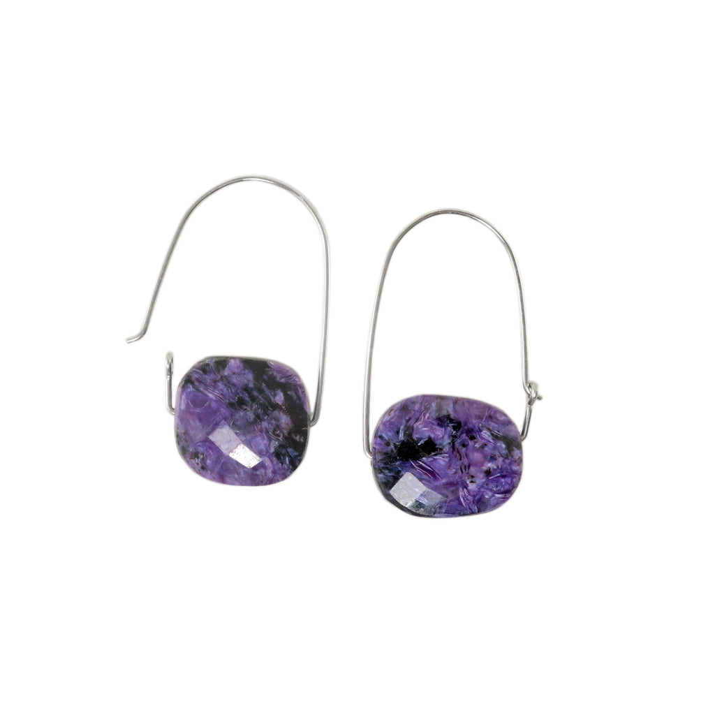 Charoite ~ Carry-On Hoop Earrings