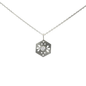 Hexagon Tile Bee Pendant