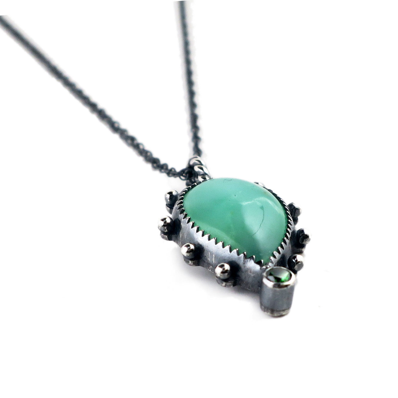 unEarthed necklace with green chrysoprase and green gem