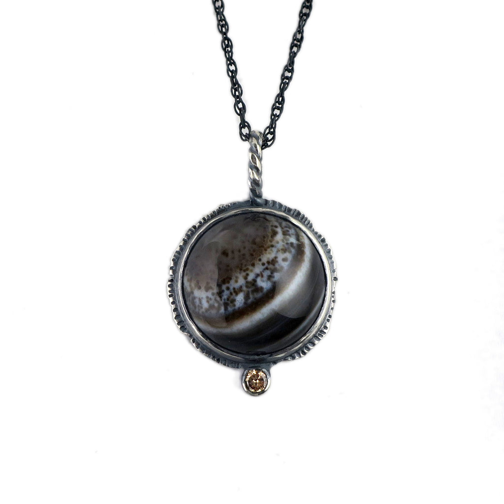 unEarthed necklace with banded agate and citrine