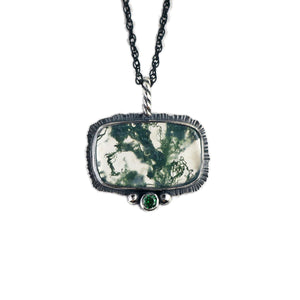 unEarthed necklace with moss agate and green gem