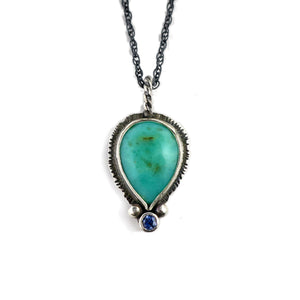 unEarthed necklace with chrysoprase and sapphire