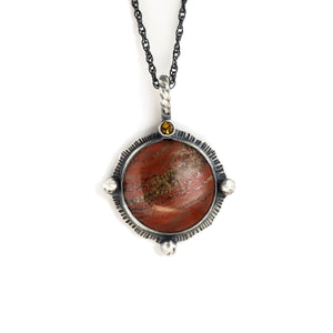 unEarthed necklace with red banded agate and citrine