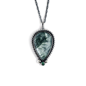 unEarthed necklace with seraphinite and green gem