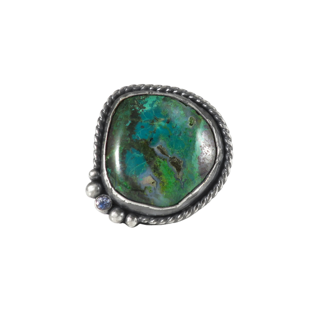 unEarthed ring with azurite and tanzanite