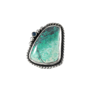 unEarthed ring with green turquoise and sapphire