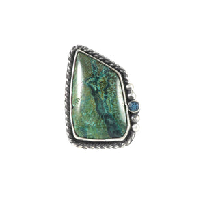 unEarthed ring with chrysocolla and blue topaz