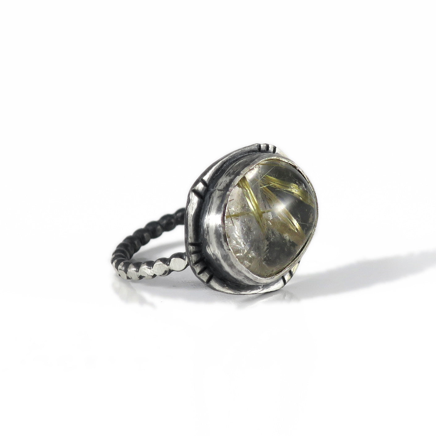 unEarthed ring with gold rutilated quartz