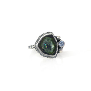 unEarthed ring with tourmaline slice and tanzanite