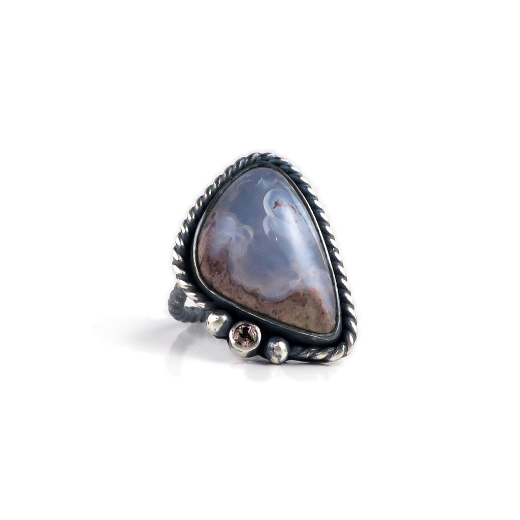unEarthed ring with mexican opal and tourmaline