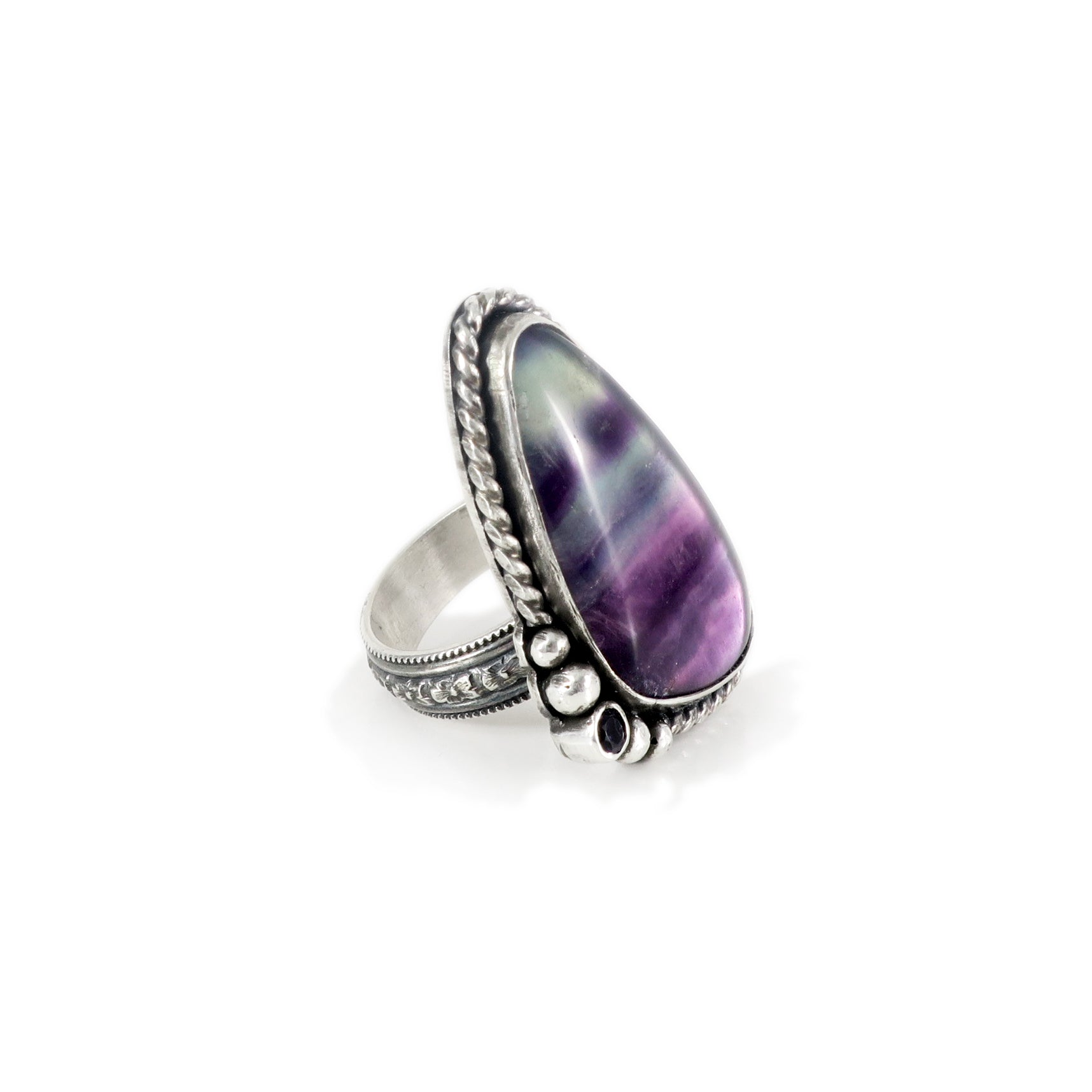 unEarthed ring with fluorite and amethyst