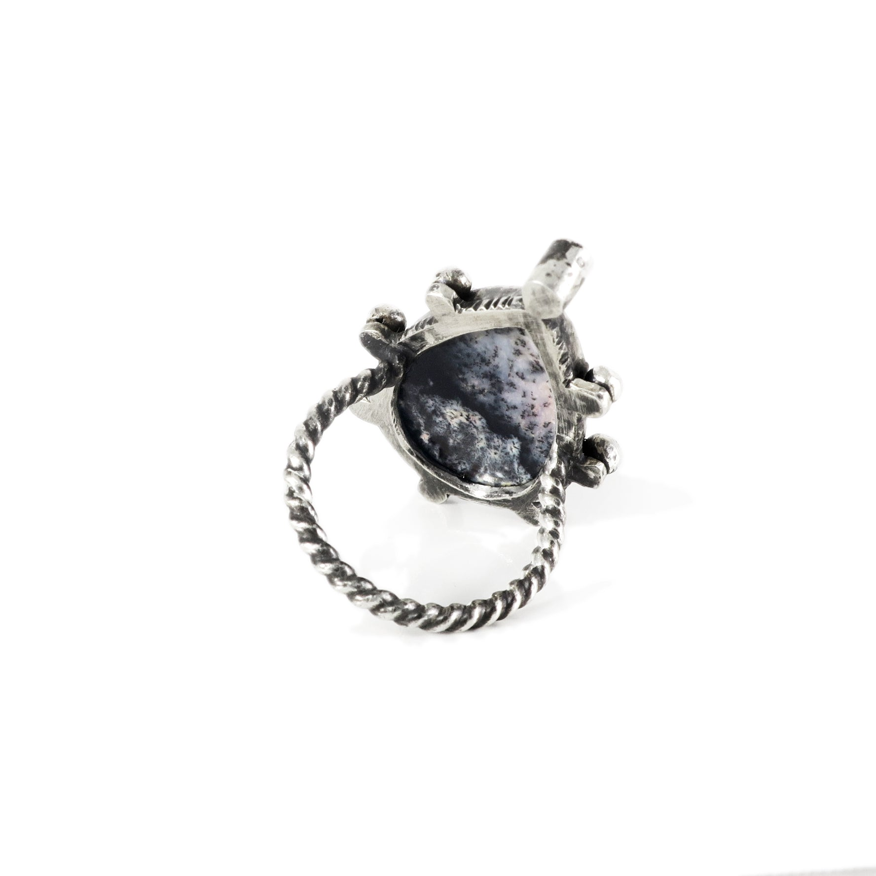 unEarthed ring with dendritic opal and white topaz